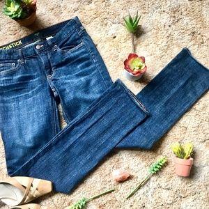 {J.Crew} Matchstick Dark Wash Mid-Rise Jeans, 28R